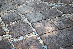 Stone street. Texture walk way in the park Royalty Free Stock Photo