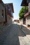 Stone streets in the old town of Sozopol in Bulgaria Royalty Free Stock Images