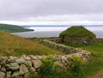 Stone structure in Cape Breton. Stone structure at Highland Village in Cape Breton stock photo