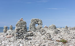 Stone structures in Saaremaa, Estonia. A photo of human made stone structures in the biggest island in Estonia called Saaremaa. These structures are become one Royalty Free Stock Photos