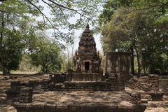 Stone stupa and chedi at Archaeological Park of Si Satchanalai Buddhist temples, Thailand Royalty Free Stock Photography