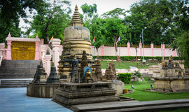 Stone stupas at the Mahabodhi Temple in Gaya, India.  Royalty Free Stock Photo