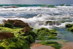 Stone surf. Sea surf is washing backward stones royalty free stock photography