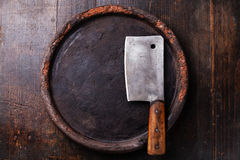 Stone surface and meat cleaver Stock Photo