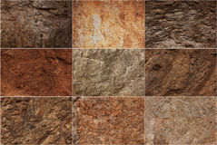 Stone surfaces of different textures Stock Photography