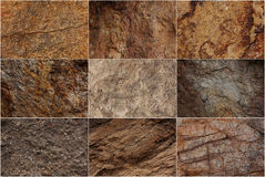 Stone surfaces with different textures. And colors Royalty Free Stock Photo