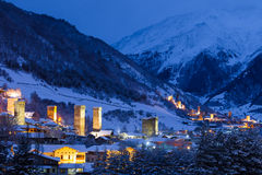 Stone svaneti towers with lights in the mountain Royalty Free Stock Photo