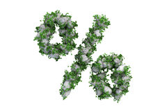 Stone symbol % covered with ivy, isolated Royalty Free Stock Photos