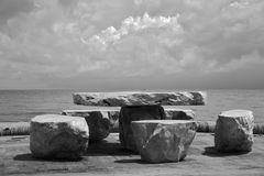 Stone tabel on the beach Stock Images