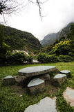 Stone table and bench, Taroko National Forest Park, Taiwan Stock Photo