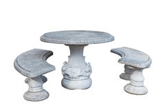 Stone table and benches Royalty Free Stock Images