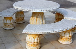 Stone table and benches Royalty Free Stock Photo