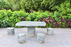 Stone Table and Benches. Stone / concrete table and benches sitting outdoors royalty free stock photos