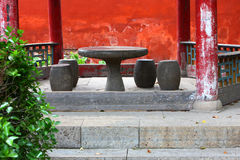 Stone table and chair royalty free stock image