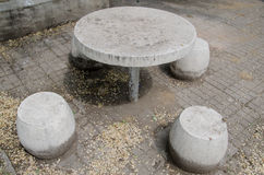 Stone Table and chairs Royalty Free Stock Photography