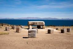 Stone table on the island Isla del Sol, Bolivia Stock Photo