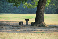 Stone table and seat Stock Images