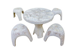 Stone table set  isolated on white background,clipping path Stock Photography