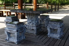 Stone table and stone bench Royalty Free Stock Photography