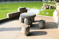 The stone table and stool Royalty Free Stock Image