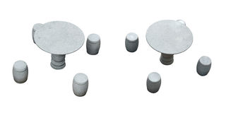 Stone table and stools Stock Photo