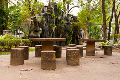 Stone tables and chair in park. For relax and rest Stock Image