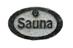 Stone tablet with the inscription sauna on a white. Background royalty free stock images