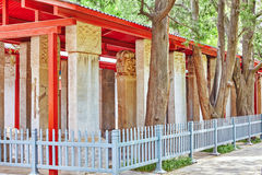 Stone Tablet inside the Confucius Temple at Beijing-the second l Royalty Free Stock Photo
