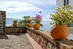 Stone terrace overlooking ocean Royalty Free Stock Photography