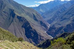 Stone terraces of Choquequirao archaeological complex, very unique, mysterious, distant place with inca ruins