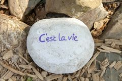 Stone with text C`est la vie royalty free stock photo