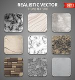 Stone Texture Samples Realistic Set. Stone textures samples for wall interior decor and garden design 9 realistic icons collection isolated vector illustration Royalty Free Stock Photo