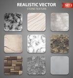 Stone Texture Samples Realistic Set Royalty Free Stock Photo