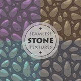 Stone  textures set. Cartoon ground seamless patterns collection for game design Stock Images