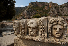 Stone Theater Masks, Myra, Turkey Stock Photography