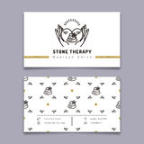 Stone therapy business card. Massage, beauty spa, relax, natural medicine Stock Photos