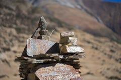 Stone with tibetian mantras Tibet sanscrit Stock Photography