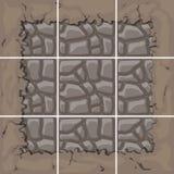 Stone tiles kit. Seamless stone tiles construction kit with ground border connection Stock Photo