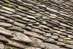 Stone tiles of slate-roof house Stock Images