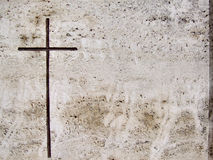 Stone tomb engraved cross Royalty Free Stock Photos