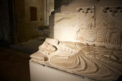 Stone tomb indoor Lleida cathedral Stock Image