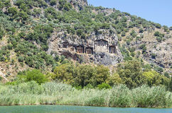 Stone tombs in Dalyan Stock Photography