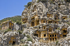 Stone tombs of myra Stock Image