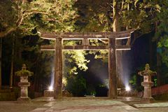 Stone Tori Gate in Nikko, Japan. Royalty Free Stock Image