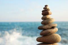 Stone tower. On sea coast Royalty Free Stock Photo