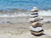 Stone tower on beach Royalty Free Stock Photography