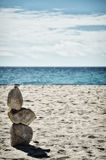 Stone tower on the beach, zen image Royalty Free Stock Photo