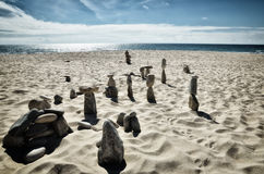 Stone tower on the beach, zen image Royalty Free Stock Image