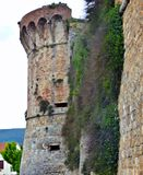 Stone tower on the city wall of Volterra. royalty free stock photos