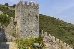 Stone tower of city walls, Portovenere Stock Image